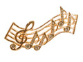 Staff Gold With Clear Stones Rhinestone Brooch
