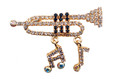 Trumpet With Notes Gold Rhinestone Brooch