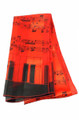 Staff and Keyboard on Ends Scarf 13 x 60 - Red