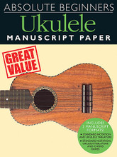 Absolute Beginners - Ukulele Manuscript Paper. For Ukulele. Music Sales America. Softcover. 48 pages. 9x12 inches. Music Sales #AM100010. Published by Music Sales.  This handy book contains 48 pages of manuscript paper, with two manuscript formats, specially prepared for Ukulele players: standard notation with ukulele tablature and standard notation with ukulele tablature including chord boxes. Also including a tuning guide and chord reference library, this book contains everything you need to put your idea onto paper.