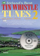 110 Ireland's Best Tin Whistle Tunes - Volume 2 (with Guitar Chords). Edited by Harry Long. For Tinwhistle, Pennywhistle. Waltons Irish Music Books. Softcover with CD. 48 pages. Hal Leonard #WM1367CD. Published by Hal Leonard.  110 of the best tunes in any tin whistle player's repertoire, specially chosen and arranged by one of Ireland's top players and teachers and graded by difficulty for everyone from the beginner to advanced player.  Volume 2 features 110 more of the best tunes in any tinwhistle player's repertoire. Also includes examples of more unusual traditional forms such as mazurka waltz barndance and strathspey. Includes: Billy Brocker's Castle • Kelly Cooley's • The Dublin Reel • The Dunmore Lassies • Eileen Curran • The Enchanted Lady • Famous Ballymote • The Flowers of Redhill • and more.