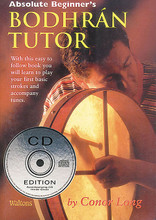 Absolute Beginner's Bodhran. For Bodhran Drum. Waltons Irish Music Books. Book with CD. 32 pages. Hal Leonard #WM1405CD. Published by Hal Leonard.  This 30-page book has an accompanying CD, all created by Conor Long. The book will introduce the beginner to the bodhrán. Learn to care for and handle your bodhrán, as well as how to hold it, various playing positions and more. The descriptions of the bodhrán and instruction in the book are well illustrated. Reels, jig exercises and nine songs are also included. Recommended for beginners and enthusiasts alike.