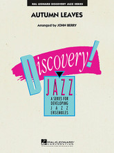 Autumn Leaves by Jacques Prevert, Johnny Mercer, and Joseph Kosma. Arranged by John Berry. For Jazz Ensemble. Discovery Jazz. Grade 1.5. Published by Hal Leonard.  Here is an easy swing version of this timeless classic. The saxes are in the spotlight, but also featured is a short solo for trumpet. Skillfully arranged for inexperienced bands.  Instrumentation:  1 - FULL SCORE 12 pages  1 - ALTO SAX 1 2 pages  1 - ALTO SAX 2 2 pages  1 - TENOR SAX 1 2 pages  1 - TENOR SAX 2 2 pages  1 - BARITONE SAX 2 pages  1 - TRUMPET 1 2 pages  1 - TRUMPET 2 2 pages  1 - TRUMPET 3 2 pages  1 - TROMBONE 1 2 pages  1 - TROMBONE 2 2 pages  1 - TROMBONE 3 2 pages  1 - DRUMS 2 pages  1 - PIANO 3 pages  1 - GUITAR 2 pages  1 - BASS 2 pages