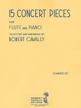 15 Concert Pieces (Flute and Piano (2-book set)). Arranged by Robert Cavally. For Flute. Robert Cavally Editions. Softcover. Hal Leonard #B437. Published by Hal Leonard.  Includes: Chasse aux papillons, Op. 30 (Fontbonne); Legende (Andersen); Nocturne (Doppler); Papillon (Köhler); Whirlwind (Krantz); Tourbillon (Andersen); Bolero (Pessard); Five Short Pieces (Mouquet); Danse pour Katia (Bournonville); Romanze (Winkler); Scherzo (Lefebvre).