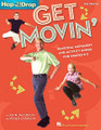 """Get Movin'. (Seasonal Movement and Activity Songs for Grades K-3). By John Jacobson and Roger Emerson. For Choral (COLLECTION). Music Express Books. 72 pages. Published by Hal Leonard.  It's time to get movin'! Bring your knees to your nose. Do a little ol' soft shoe. Be a turkey. Make angels in the snow. Be President! Get ready to shimmy & shake and wiggle & giggle from the first day of school to the last. Here are twelve more seasonal songs from the popular """"Hop 'Til You Drop"""" series that will help you do just that! John Jacobson's Music Express magazine brings you this movin' & groovin' collection! Present each song with helpful teaching tips, simple movement ideas and reproducible lyric sheets. Accompany your class with piano arrangements, or sing-along with John and a group of children singers. Two separate quality recordings are available: a Sing-Along CD and a Performance/Accompaniment CD of song versions with and without singers. Available separately: Song Collection, Sing-Along CD, Performance/Accompaniment CD. Suggested for grades K-3."""