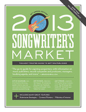 2013 Songwriter's Market. Book. Softcover. 364 pages. Published by Writer's Digest Books.  It's an exciting time to be a songwriter, especially if you have an entrepreneurial spirit. Whether you're a perfoming or nonperforming songwriter, chances are that your primary goals are perfecting your craft and maximizing your work's visibility. For 36 years, Songwriter's Market has provided the most complete and up-to-date information songwriters need to place their songs with the music publishers, record companies, record producers, managers, booking agents, music firms and more. This comprehensive guide provides you with all the tools you need to launch, manage, and advance your songwriting career.  In the 2013 edition, you'll also gain access to:  • Newly updated information about submitting your songs over the internet, and registering your copyright online  • Hundreds of songwriting placement opportunities  • Power-packed articles on taking charge of your career – including how to navigate the constantly evolving world of social media and discover alternative routes to songwriting success  • Listings for songwriting organizations, conferences, workshops, retreats, colonies, contests, and venues (a helpful tool for indie artists booking their own tours).