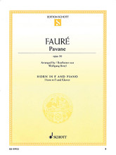 Pavane, Op. 50 (for Horn in F and Piano). By Gabriel Fauré and Gabriel Faur. Arranged by Wolfgang Birtel. For French Horn, Piano. Brass. Softcover. Schott Music #ED09922. Published by Schott Music.  Fauré's romantic, melancholy melody has been arranged for various instruments with piano accompaniment.