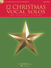 12 Christmas Vocal Solos. (for Classical Singers - Low Voice, Book/CD - with a CD of Piano Accompaniments). By Various. For Vocal, Low Voice, Piano Accompaniment. Vocal. Book with CD. 48 pages. Published by G. Schirmer.  Selection of art songs and spirituals that are appropriate for classical singers. Suitable for performances in church or recital. Includes: I Wonder As I Wander (John Jacob Niles); Mary Had a Baby (Hall Johnson); O Holy Night (Adolphe Adam); On Christmas Eve (Sibelius); and more.