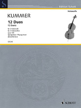 12 Duets, Op. 105 (Two Violoncellos Performance Score). By Friedrich August Kummer (1797-1879). Edited by Wolfgang Birtel and Susanne Richter. For Cello Duet. Schott. Softcover. 28 pages. Schott Music #CB243. Published by Schott Music.  Friedrich August Kummer (1797–1879) came from a family of musicians, studied violoncello with the renowned solo cellist Friedrich Dotzauer of the Dresden Court Chapel and then worked as a cellist first at the Royal Opera House, later at the Dresden Court Chapel. Kummer composed of course for 'his' instrument as well, writing not only a cello method, but also a large number of performance pieces. To prevent any trouble with difficult works, his works also include numerous studies and easy pieces such as '12 Duets for 2 Violoncellos' Op. 105. They are one-movement pieces which demand cantabile and concertante playing at a moderate level of difficulty and are the ideal introduction to chamber music playing.