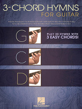 3-Chord Hymns for Guitar. (Play 30 Hymns with 3 Easy Chords!). By Various. For Guitar. Guitar Collection. Softcover. 32 pages. Published by Hal Leonard.  More than two dozen sacred favorites that guitarists can play knowing just the G, C & D chords! Includes: Amazing Grace • For the Beauty of the Earth • Joyful, Joyful We Adore Thee • O Worship the King • Savior, Like a Shepherd Lead Us • This Is My Father's World • What a Friend We Have in Jesus • and more!