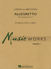 Allegretto (from Symphony No. 7) by Ludwig van Beethoven (1770-1827). Arranged by Robert Longfield. For Concert Band (Score & Parts). MusicWorks Grade 2. Grade 2-2 1/2. Score and parts. Published by Hal Leonard.  From Beethoven's Symphony No. 7, this movement is one of the master's most recognizable and performed themes. Recently featured in the Oscar-winning film The King's Speech, here is a skilled and effective adaptation for young bands by Robert Longfield. A great way to showcase the classical period of musical history on any program. Dur: 2:45.