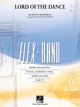 """The Lord of the Dance by Ronan Hardiman. Arranged by Johnnie Vinson. For Concert Band (Score & Parts). FlexBand. Grade 2-3. Published by Hal Leonard.  Based on the familiar Celtic folk tune Shaker Song, here is an exciting arrangement of the main theme from the stage production """"The Lord of the Dance"""" playable with just about any combination of instruments."""
