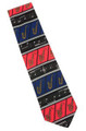"""""""Ties, Crazy Ties, Saxophone, hand-made. Black background with Multi-colored Saxophone."""""""