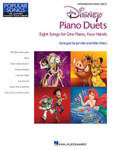Disney Piano Duets (Eight Songs for One Piano, Four Hands). Arranged by Jennifer Watts and Mike Watts. For 1 Piano, 4 Hands. Educational Piano Library. Intermediate. Softcover. 48 pages. Published by Hal Leonard.  Here are 8 great Disney hits expertly arranged as intermediate duets: The Bare Necessities • Belle • Chim Chim Cher-ee • Hakuna Matata • I See the Light • Kiss the Girl • When She Loved Me • You've Got a Friend in Me.