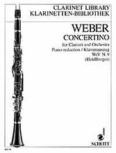 Concertino for Clarinet and Orchestra (Critical Edition from the First Edition, WeV N.9). By Carl Maria von Weber (1786-1826). Arranged by Frank Heidlberger. For Clarinet, Orchestra, Piano. Klarinetten-Bibliothek (Clarinet Library). Piano Reduction with Solo Part. 36 pages. Schott Music #KLB48. Published by Schott Music.  Piano Reduction.  This new edition is based exclusively on sources authorized by the composer and supplies the original text freed from the clutter of later editorial insertions (mainly intended to preserve the alleged interpretation of the clarinet player Heinrich Bärmann).