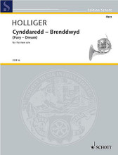 "Cynddaredd - Brenddwyd (Fury - Dream). (for Solo Horn). By Heinz Holliger (1939-2002). For French Horn. Il Corno (Horn Library). 4 pages. Schott Music #COR16. Published by Schott Music.  Holliger (b. 1939) is a Swiss oboist and composer. The English translation ""Fury - Dream"" of the original Gaelic title shows the spectrum of this short character study which explores all the subtleties of modern horn playing."