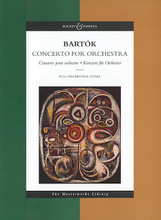 Concerto for Orchestra (The Masterworks Library). By Bela Bartok (1881-1945). Edited by Peter Bartok. For Orchestra (Score). Boosey & Hawkes Scores/Books. 20th Century and Hungarian. Difficulty: difficult. Full score. Condensed score and introductory text. 150 pages. Boosey & Hawkes #M060105357. Published by Boosey & Hawkes.  This popular series from Boosey & Hawkes features favorite orchestral works in full-score format. Combining high-quality production with affordable prices, each volume of the Masterworks Series features: full-size format; full-color fine art covers; newly published introductory notes, commentaries and illustrations; more. Essential scores for every library!  A revised edition (1993) including Bartok's alternative ending.
