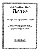 Brave (Music from the Motion Picture Arranged for Harp). Arranged by Sylvia Woods. For Harp. Harp. Softcover. 28 pages. Published by Hal Leonard.  The Disney-Pixar animated movie Brave was filled with wonderful Scottish-flavored music that sounds great on the harp. Sylvia has arranged 6 of the pieces for harp. Some are playable by beginners, and other are a bit more challenging. Merida's Home has 2 arrangements: easy and intermediate. The pieces are in the keys of 1 or 2 sharps, and 2 pieces have easy lever changes. Fingerings and chord symbols are included. The lyrics for Noble Maiden Fair are printed in Gaelic, as well as a phonetic version. Three pieces have English lyrics: Touch the Sky * Learn Me Right * and Into the Open Air. 26 pages of music. Songs include: Noble Maiden Fair * Merida's Home * The Games * Touch the Sky * Learn Me Right * and Into the Open Air.