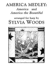 America Medley: America and America The Beautiful (Arranged for Harp). Arranged by Sylvia Woods. For Harp. Harp. Softcover. 6 pages. Published by Hal Leonard.  Sylvia Woods' medley of two patriotic songs is perfect for school assemblies, meetings, festivals, churches, and national holidays. It combines 2 well-known favories: America (My Country 'tis of Thee) and America the Beautiful (Oh Beautiful, for Spacious Skies). It begins in the key of D (2 sharps) and ends in the key of G (1 sharp), with several sharping lever or pedal changes. Fingerings, chord symbols and lyrics are included. 4 pages, for advanced beginner and intermediate players.