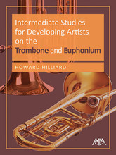 Intermediate Studies for Developing Artists on Trombone/Euphonium. For Trombone, Euphonium. Meredith Music Resource. Softcover. 48 pages. Published by Meredith Music.  This text covers every possible style appropriate to an intermediate book for brass. It includes music from the 14th century up to the beginning of the 20th century from dozens of countries, including original compositions that mimic many historic styles. The musical selections outside the standard repertoire compare well in quality to the more famous works, and have unique elements that increase students' musical vocabulary. Includes: challenging and rewarding music in a comfortable range for students with braces; musical exercises to teach phrasing; and lip slur exercises. The great musical examples make practicing feel effortless and enriching! In addition to classical etudes, a number of jazz etudes are incorporated that represent important styles including Dixieland, Swing, Bebop, Blues and various Latin forms.
