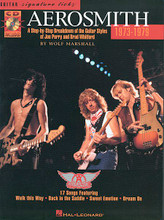 1973-1979. (A Step-by-Step Breakdown Of The Guitar Styles Of Joe Perry And Brad Whitford). By Aerosmith. For Guitar. Hal Leonard Guitar Signature Licks. Hard Rock, Rock, Pop Rock and Instructional. Instructional book (song excerpts only) and accompaniment CD. Guitar tablature, standard notation, chord names, guitar notation legend, instructional text and introductory text. 79 pages. Published by Hal Leonard.  One of the most prominent bands of the rock era, Aerosmith Signature Licks 1973-1979 is a step-by-step breakdown of the guitar styles and techniques of the songs that made them famous.