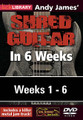 Andy James' Shred Guitar in 6 Weeks. (Complete Set (6 DVDs)). By Andy James. For Guitar. Lick Library. DVD. Lick Library #RDR0407. Published by Lick Library.  Welcome to the Shred Guitar in 6 Weeks guitar course. This course is designed to focus your practice towards realistic goals achievable in six weeks. Each week provides you with techniques, concepts and licks to help you play and understand metal soloing at a manageable pace. Three licks in the style of a featured artist are taught each week to help you towards playing in real musical situations and develop an ear for the differences between players.If you have been frustrated or intimidated by other educational material this course is for you. You will see the improvement as you work through each week.