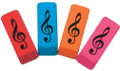 Eraser wedge with G-Clef design, comes in assorted colors.
