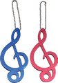This aluminum keychain with a G-Clef design comes in assorted colors.