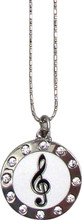 """Necklace with G-Clef in rhinestone circle with a 22"""" chain."""