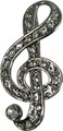Rhinestone Brooch with large G-Clef in clear stones.