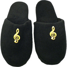 This plush slipper will keep your feet warm on those cold nights. This black slipper has an embroidered G-Clef on the front. Get a pair today.