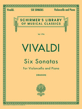 6 Sonatas For Cello And Piano (Cello and Piano). By Antonio Vivaldi (1678-1741). Edited by Nikolai Graudan and N Graudan. For Cello, Piano (Cello). String Solo. Baroque. Difficulty: medium. Set of performance parts (includes separate pull-out cello part). Solo part, piano accompaniment and performance notes. 73 pages. G. Schirmer #LB1794. Published by G. Schirmer.