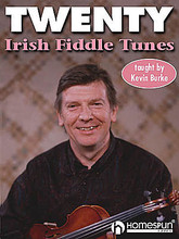 Twenty Irish Fiddle Tunes by Kevin Burke. For Fiddle. Fretted. Book with CD. 12 pages. Homespun #CDBURTW01. Published by Homespun.  Kevin Burke, one of the true masters of the Irish fiddle, teaches these 20 tunes taken from his vast repertoire of Irish traditional music. He plays each one slowly for novice players, then up to tempo with all the ornaments to give the learning instrumentalist the true feel of the tune. Songs: Rolling in the Ryegrass • The Sligo Maid • The Earl's Chair • The Wind That Shakes the Barley • Down the Broom • The Gatehouse Maid • The Sailor on the Rock • The Humours of Lissadell • The Maid Behind the Bar • The Maids of Mitchelstown • The Stack of Barley • Rise a Mile • Tune from Gurteen • The Scotsman over the Border • Tommy People's Jig • Andy McGann's Jig • Old Man Dillon • Sean Ryan's Jig • A Polka • A Slide  ONE CD • INCLUDES MUSIC • LEVEL 3.