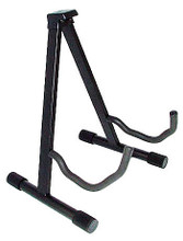 A-Frame Guitar Stand. (Heavy-Duty). For Guitar. Accessory. General Merchandise. Hal Leonard #ASTA. Published by Hal Leonard.  This heavy-duty A-frame guitar stand is easy and fast to set up with a security lock feature. It is equipped with a quick-release lever and foam rubber padding. Black finish. Adjustable height 16.5″ to 13″.