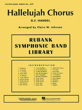 """Hallelujah Chorus by George Frideric Handel (1685-1759). Arranged by Clair W. Johnson. For Concert Band (Score & Parts). Band. Grade 3-4. Published by Rubank Publications.  From Handel's masterwork Messiah, the inspirational strains of the """"Hallelujah Chorus"""" are some of the most often heard melodies during the holiday season. This powerful arrangement in C Major is transposed note-for-note from the original and may be performed as a stand alone piece or with optional SATB chorus (HL.4472503)."""