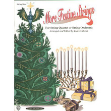 """Martin, Joanne - More Festive Strings for String Quartet or String Orchestra - Bass part - Alfred Music Publishing.  More Festive Strings for Quartet or Orchestra, by Joanne Martin, is a versatile holiday collection for a variety of instrumentation.  Composed in keys most natural to strings, this collection features quality arrangements that are longer and more interesting than most beginner holiday books.  Bass Part. Difficulty: A2.  Grading: intermediate (slightly more difficult than an """"easy"""" grade, may require some easy shifting, more complex rhythms, more advanced bowing, suitable for someone with a few years playing experience)."""