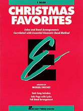 Christmas Favorites - F Horn (F Horn). Arranged by Michael Sweeney. For Concert Band, Horn. Hal Leonard Essential Elements Band Method. Christmas. Difficulty: easy-medium. Horn solo songbook (no accompaniment). 24 pages. Published by Hal Leonard.  A collection of Christmas arrangements which can be played by full band or by individual soloists with optional CD or tape accompaniment (sold separately). Each song is correlated with a specific page in the Esssential Elements Method Books.  Song List:      The Christmas Song (Chestnuts Roasting on an Open Fire)     Frosty the Snow Man     A Holly Jolly Christmas     Jingle-Bell Rock     Let It Snow! Let It Snow! Let It Snow!     Rockin' Around the Christmas Tree     Rudolph the Red-Nosed Reindeer