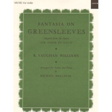 """Vaughan Williams, Ralph - Fantasia on Greensleeves. For Violin and Piano. Published by Oxford University Press.  Fantasia on the well-known Greensleeves theme, moderately difficult for the violin.  Vaughan Williams's """"Greensleeves"""" is based largely upon the traditional Greensleeves melody but also borrows from another English folksong that he gathered during fieldwork. The piece itself is a beautiful juxtaposition of folksongs, and it begins with a hauntingly beautiful flute solo that flows into a lush but simplistic string melody. Grading: intermediate (slightly more difficult than an """"easy"""" grade, may require some easy shifting, more complex rhythms, more advanced bowing, suitable for someone with a few years playing experience). instrumentation: violin and piano"""