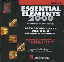 Essential Elements 2000 - Book 2 (Brass & Woodwinds) - Play Along Trax Discs 2 & 3 (Ex. 56-end) arranged by Paul Lavender and John Higgins. For Concert Band. Essential Elements 2000. Instructional and Play Along. Accompaniment CDs only (2-disc set). Published by Hal Leonard.  Essential Elements was the major breakthrough for beginning band methods in the '90s. Now Essential Elements 2000 will take band programs into the next millennium! EE2000 features:* A CD featuring a professional soloist in every Student Book 1 * Great performance music with planned first concert. * Even more great tunes, motivating students to practice and stay in band. * Special Rubank! Studies * Better pacing, sequencing and reinforcement. * Theory, history and creativity exercises integrated into each student book. Petersen.