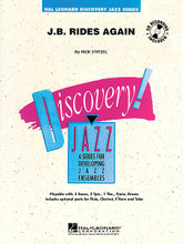 """J.B. Rides Again by Rick Stitzel. For Jazz Ensemble (Score & Parts). Discovery Jazz. Grade 1. Published by Hal Leonard.  Written as a tribute to the """"Godfather of Soul"""" James Brown, Rick Stitzel uses plenty of tutti ensemble riffs in creating a chart that's true to this funky style. The solo section can be played by any saxophone, or as a section feature for all the saxes."""