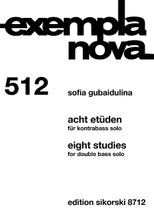 Eight Studies [Acht Etuden] (Double Bass Solo). By Sofia Gubaidulina (1931-). For Double Bass. String. Softcover. 20 pages. Sikorski #SIK8712. Published by Sikorski.