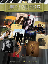 """Today's Piano Greats (A Step-by-Step Breakdown of 13 Hit Songs). For Piano/Keyboard. Piano Instruction. Softcover with CD. 72 pages. Published by Hal Leonard.  Learn to play 13 recent hits complete with instruction, music and recorded demos. The songs in this collection encompass a wide variety of styles within today's pop and rock music for piano: the driving rock of """"Clocks,"""" the mellow acoustic pop of """"Don't Know Why,"""" the gentle balladry of """"How to Save a Life,"""" the goth rock of """"My Immortal,"""" the jazz-infused """"Ordinary People,"""" and more."""