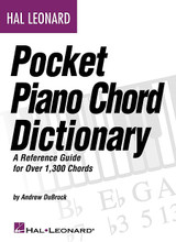 Hal Leonard Pocket Piano Chord Dictionary (A Reference Guide for Over 1,300 Chords). For Piano/Keyboard. Keyboard Instruction. Softcover. 240 pages. Published by Hal Leonard.  This comprehensive reference guide provides: 1,300+ chords in treble and bass clef notation; 42 chord qualities with multiple voicings for most chords; keyboard diagrams for each chord; and music theory info to aid in chord construction. A must for every piano player!