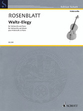 Waltz-Elegy (Cello and Piano). By Alexander Rosenblatt. For Cello, Piano Accompaniment. String. Softcover. 12 pages. Schott Music #CB259. Published by Schott Music.  'Waltz Elegy' is an expressive piece full of melancholy, a 'song without words' with expressive cantilenas in the cello part and multi-layered harmonies in the piano part. A quiet performance piece of about five minutes' duration for concert and examination purposes. In G Minor.
