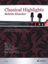 Classical Highlights (Arranged for Violoncello and Piano). By Various. Edited by Kate Mitchell. Arranged by Wolfgang Birtel. For Cello, Piano Accompaniment (Score and Solo Part). String. Softcover. 103 pages. Schott Music #ED21584. Published by Schott Music.  20 solo instrumental arrangements of popular classical works, including: Air (Bach) * Ave Maria (Schubert) * Träumerei (Schumann) * Pomp and Circumstance (Elgar) * and more. Intermediate Level.