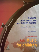 Animal Cracker Suite and Other Poems (for Children's Voices and Orff Instruments - Performance Score). By Deborah A. Imiolo-Schriver. For Orff Instruments, Children's Choir. Schott. Playing score. 36 pages. Schott Music #SMC561. Published by Schott Music.  Animal Cracker Suite is a set of four original poems arranged for speech  chorus, body percussion, and percussion ensemble. Twenty-one additional original poems are included for teachers and students to make their own musical settings. Introduction • Part I: Animal Cracker Suite • Instrumentation and Abbreviations • The Poems • Suggestions for Performance • 1. The Bullfrog • 2. Starfish • 3. Laughing Hyena • 4. A Woodpecker • Part II: Poems Set Rhythmically • Merry-Go-Round • Jacob • The Spider Plant • The Magic Carpet • Let's Pass Our Shoes • Toronto Song • Dinosaur • Milkman • Part III: Other Poems for Musical Setting • Timothy Turtle • Graduating • Baby Bug • The Clockman • Fantasy Island • Mammals • Under the Mistletoe • Halloween • Slippery Seapuppy • There's a Ghost • The Happy Little Family • Fifty Nifty Sailors • The Death and Birth of Autumn • Two Musicians • I'm Sick of Being Sick • The North.