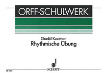 Rhythmische Übung (Rhythmic Exercises) (for Orff Instruments). By Gunild Keetman. For Percussion, Orff Instruments (Percussion). Schott. Playing score. 24 pages. Schott Music #ED6359. Published by Schott Music.  Further exercises using sound gestures (clapping, stamping, etc.). German text.