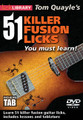 51 Fusion Licks You Must Learn! for Guitar. Lick Library. DVD. Guitar tablature. Lick Library #RDR0450. Published by Lick Library.  Fusion is the new shred right now and everyone is getting into this fantastic, cutting edge style of guitar playing. Get ahead of the crowd with this killer 2-DVD set featuring Tom Quayle taking you through 51 incredible fusion licks, designed to propel you towards modern fusion mastery! The licks on this DVD include cutting edge techniques, modal playing and changes, playing plus a ton of harmonic ideas essential for the modern fusion player.
