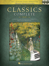 Journey Through the Classics Complete (Book/2-CD Pack). Composed by Various. Edited by Jennifer Linn. For Piano. Educational Piano Library. Softcover with CD. 184 pages. Published by Hal Leonard.  Journey Through the Classics is a complete piano repertoire collection of 98 pieces designed to lead students seamlessly from the easiest classics to the intermediate masterworks. This new edition includes two CDs of recordings by the editor of each piece in the book. The graded pieces are presented in a progressive order and feature a variety of classical favorites essential to any piano student's educational foundation. The authentic repertoire is ideal for auditions and recitals and each level includes a handy reference chart with the key, composer, stylistic period, and challenge elements listed for each piece. Quality and value make this volume a perfect classical companion for any method.
