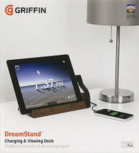 DreamStand for iPad (Dark Walnut). Griffin. General Merchandise. Griffin Technology #GC35727. Published by Griffin Technology.   Your iPad is not a gadget. It's an important part of your life each day. So we've made a place for it to live on your nightstand, your end table – anywhere in your home's decor. Our DreamStand for iPad holds your tablet within easy reach, at the perfect upright angle for bedside or end-table viewing, reading and tapping. Its built-in dock connector is positioned to plug into your iPad while you use it and keep it charged, with 10 watts of charging power. Place your iPad in DreamStand's cradle on your nightstand; you won't even have to remove your iPad from its case, so it's ready to wake up and greet the day with you. On a living room table or a kitchen countertop, it stands at attention, ready to unplug and go. DreamStand hasn't forgotten your iPhone or iPod, either. A USB port in the back lets you plug in your dock cable and charge your mobile and your iPad, together. DreamStand makes your iPad a great fit for Griffin's Clock app, as well: an attractive time display that looks great anywhere in your house, and that you can read from across the room. With sleek lines, space-saving footprint, and a warm wooden veneer finish, DreamStand will be at home in any room of your house.